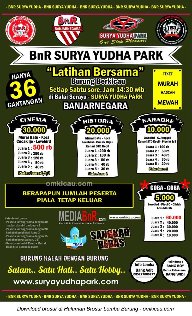 Brosur Latber Burung Berkicau BnR Surya Yudha Park, Banjarnegara, 29 Oktober 2016