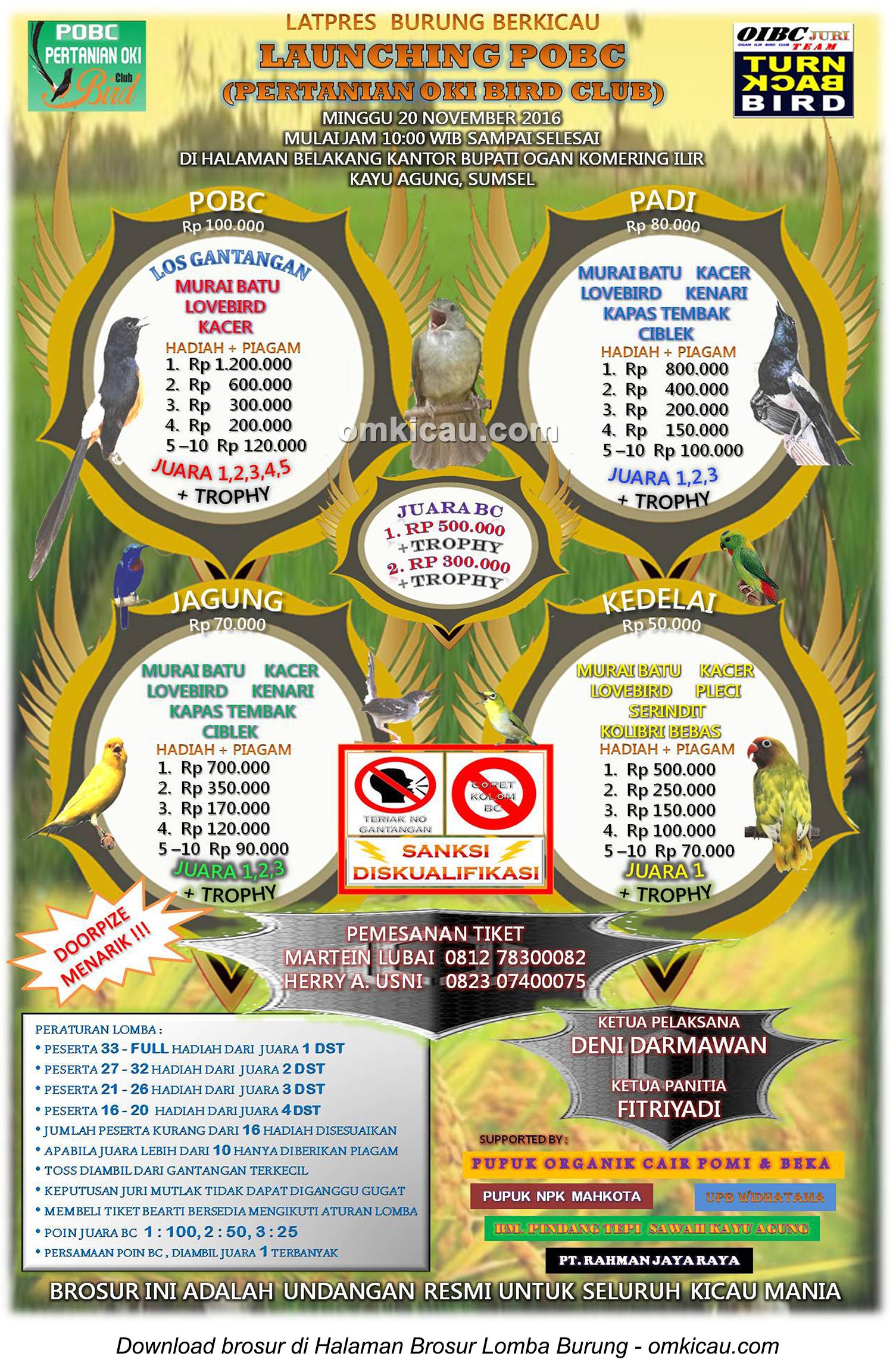 Brosur Latpres Burung Berkicau Launching POBC, OKI, 20 November 2016
