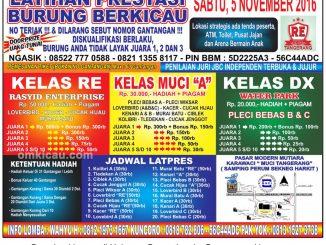 Brosur Latpres Burung Berkicau RE Muci, Tangerang, 5 November 2016