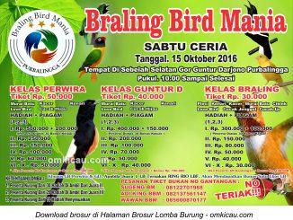 Brosur Latpres Sabtu Ceria Braling Bird Mania, Purbalingga, 15 Oktober 2016