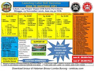 Brosur Launching Latber BnR Banyumas-Road to Banyumas Cup I, Purwokerto, 13 November 2016