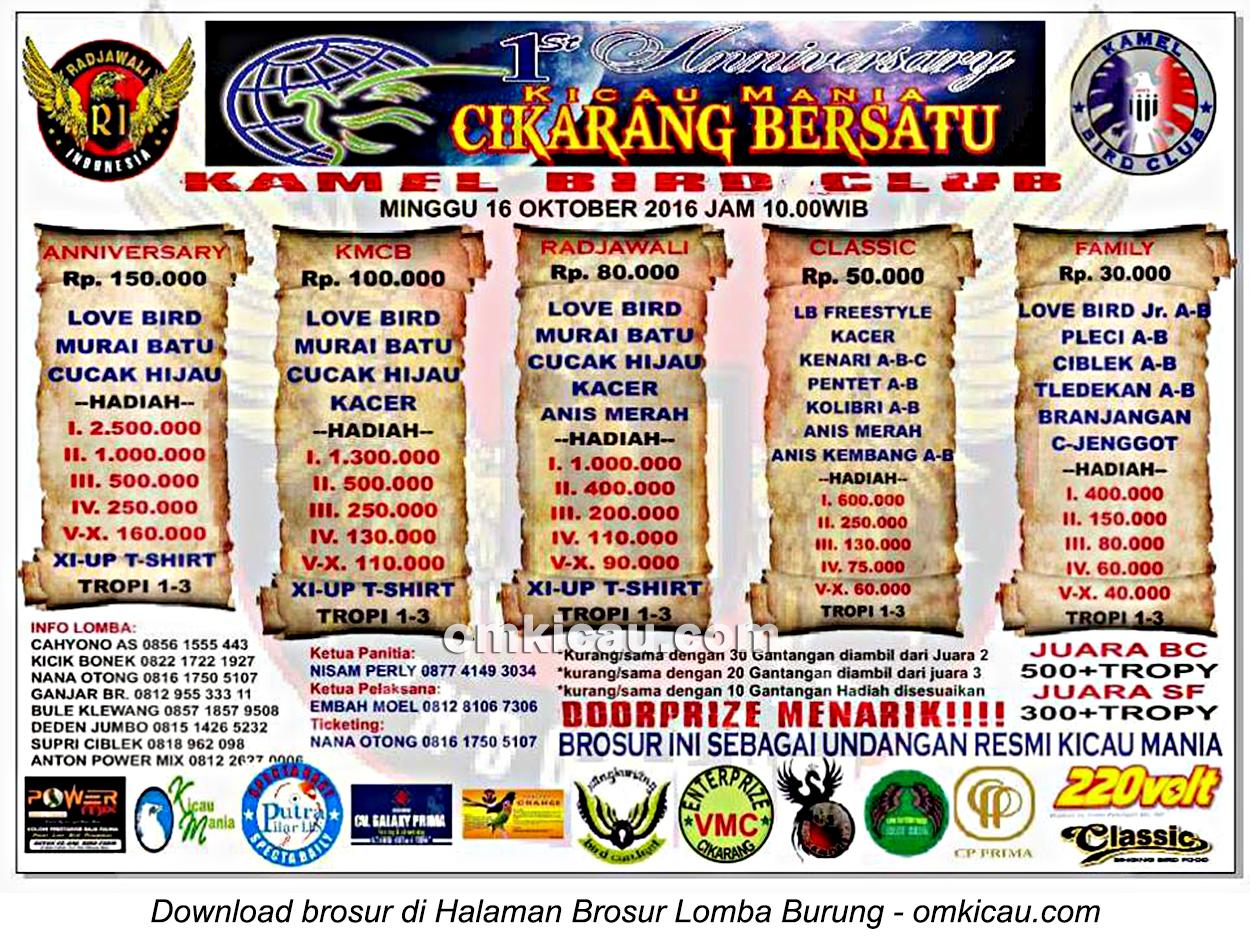 Brosur Lomba Burung Berkicau 1st Anniversary Kicau Mania Cikarang Bersatu, Cikarang, 16 Oktober 2016