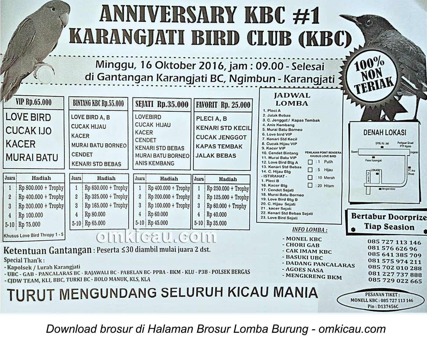 Brosur Lomba Burung Berkicau Anniversary KBC #1, Ungaran, 16 Oktober 2016