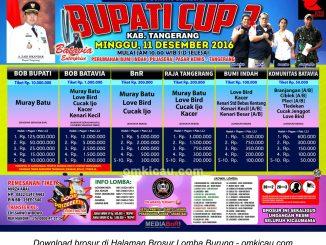 Brosur Lomba Burung Berkicau Bupati Cup 3, Tangerang, 11 Desember 2016