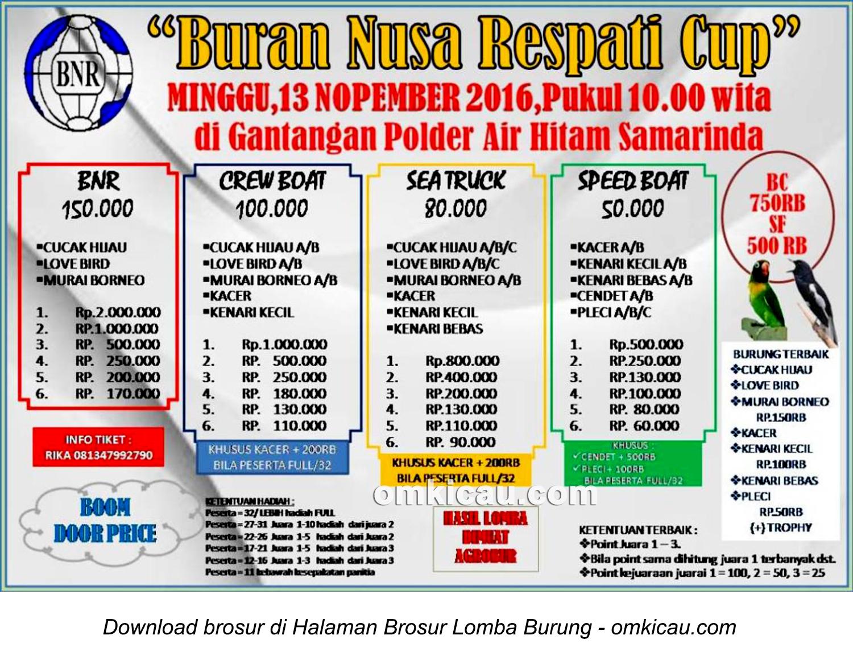 Brosur Lomba Burung Berkicau Buran Nusa Respati Cup, Samarinda, 13 November 2016