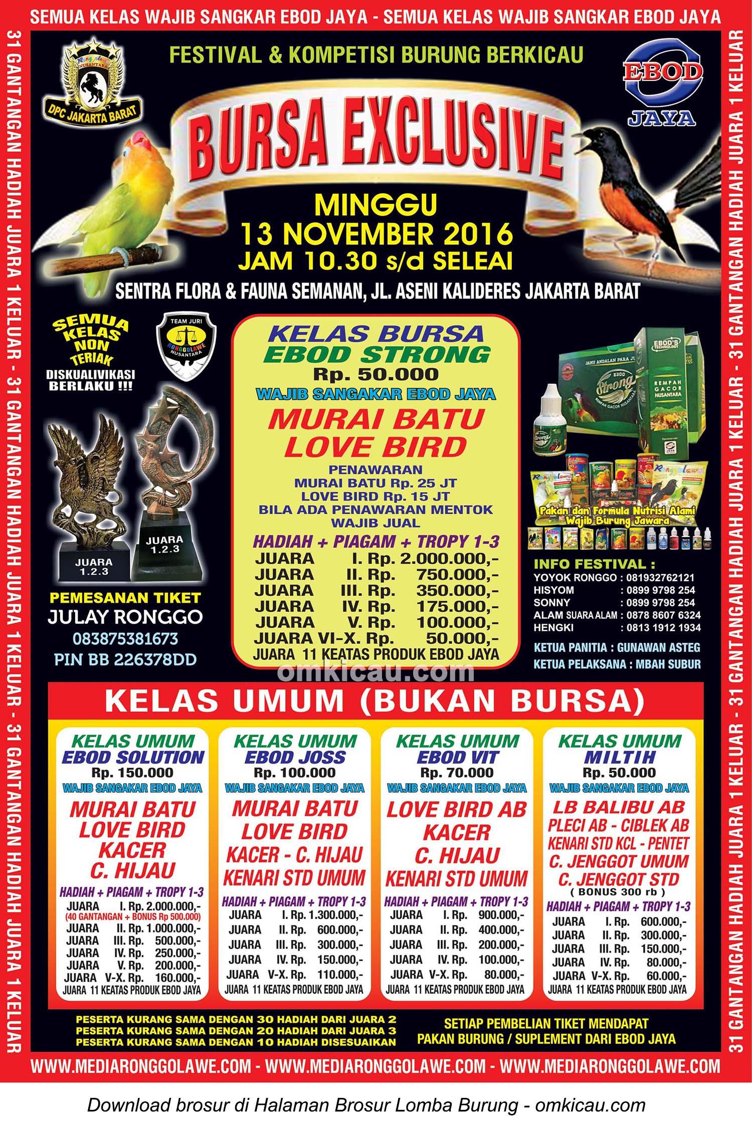 Brosur Lomba Burung Berkicau Bursa Exclusive Ronggolawe DPC Jakarta Barat, 13 November 2016