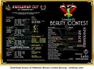 Brosur Lomba Burung Berkicau dan Lovebird Beauty Contest Pahlawan Cup, Surabaya, 6 November 2016