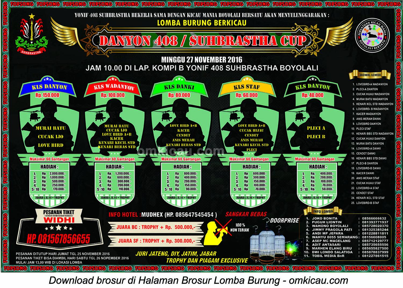 Brosur Lomba Burung Berkicau Danyon 408 Suhbrastha Cup, Boyolali, 27 November 2016