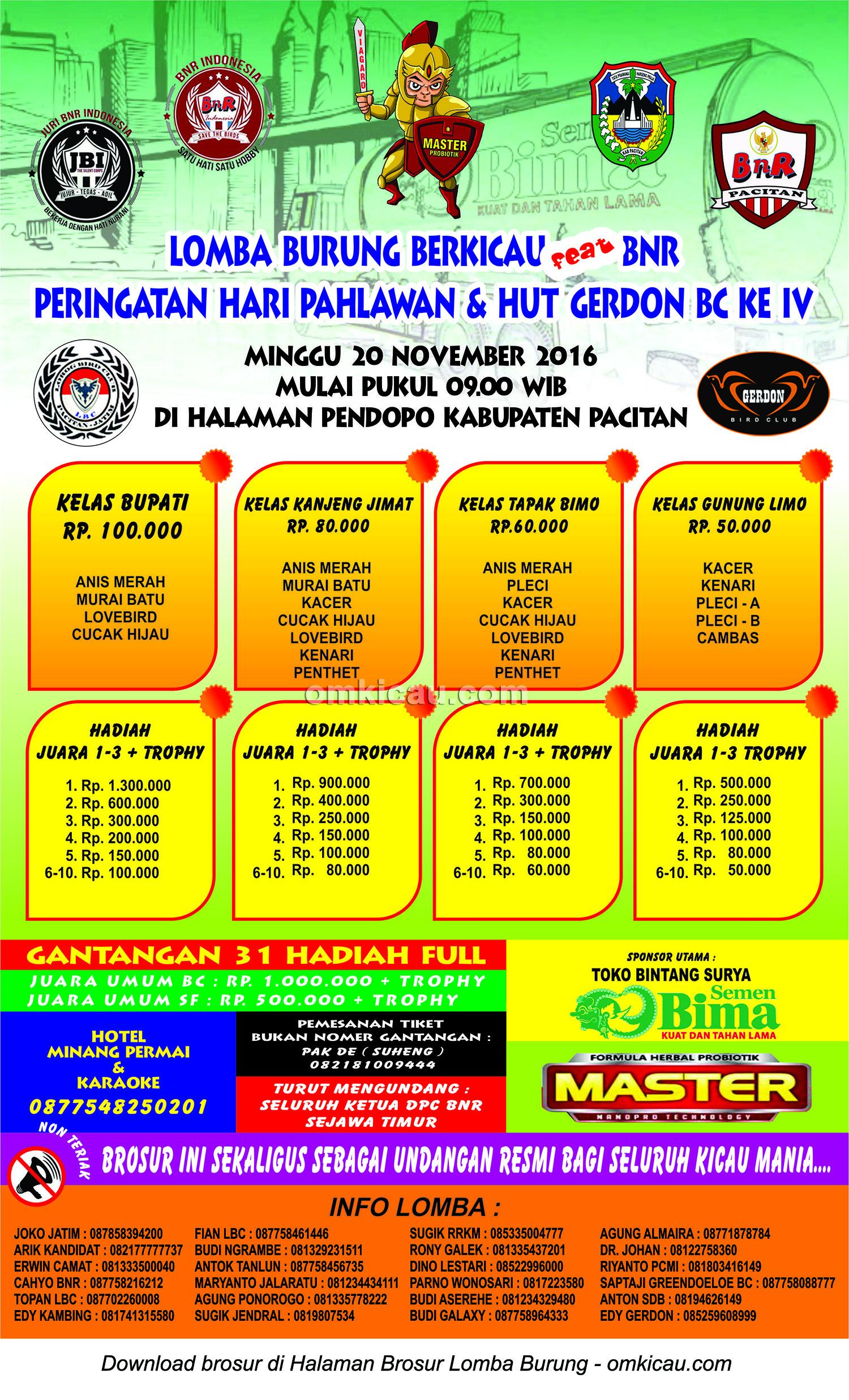 Brosur Lomba Burung Berkicau feat BnR - Hari Pahlawan & HUT Gerdon BC Ke IV, Pacitan, 20 November 2016