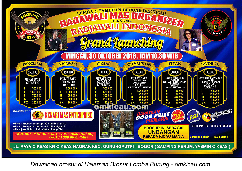 Brosur Lomba Burung Berkicau Grand Launching Rajawali Mas Organizer bersama Radjawali Indonesia, Bogor, 30 Oktober 2016