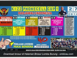 Brosur Lomba Burung Berkicau Kizz PhoneCell Cup 1, Grobogan, 27 November 2016