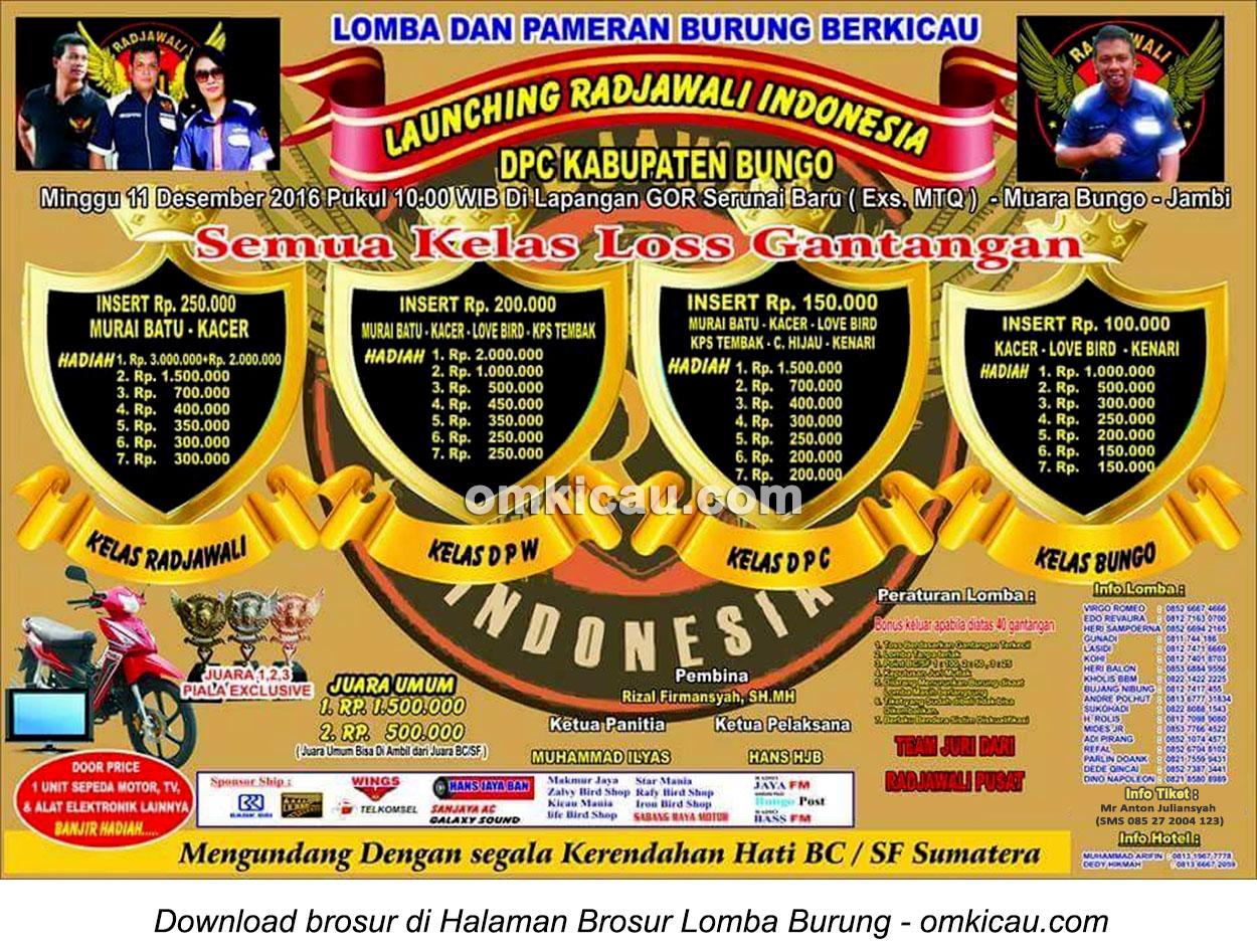 Brosur Lomba Burung Berkicau Launching Radjawali Indonesia DPC Bungo, 11 Desember 2016