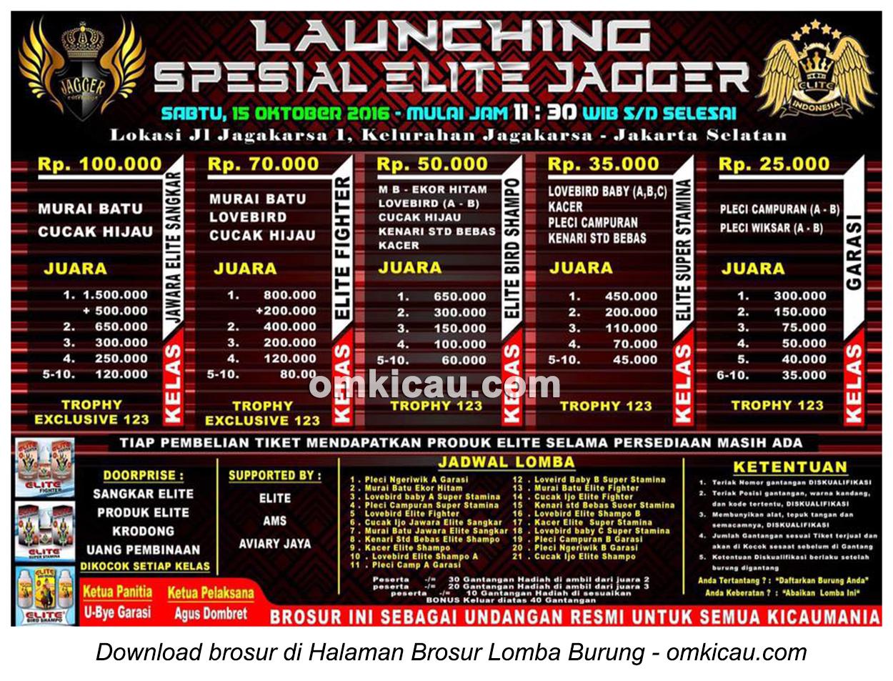 Brosur Lomba Burung Berkicau Launching Spesial Elite Jagger, Jakarta Selatan, 15 Oktober 2016