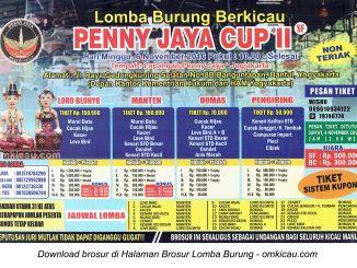 Brosur Lomba Burung Berkicau Penny Jaya Cup II, Jogja, 6 November 2016