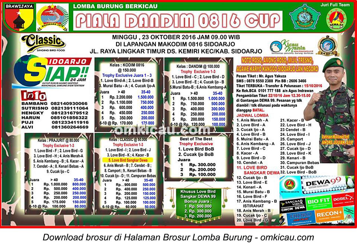 Brosur Lomba Burung Berkicau Piala Dandim 0816, Sidoarjo, 23 Oktober 2016