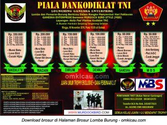 Brosur Lomba Burung Berkicau Piala Dankodiklat TNI, Tangsel, 6 November 2016