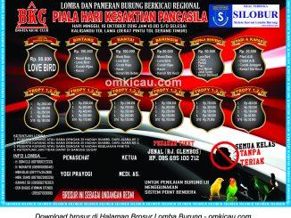 Brosur Lomba Burung Berkicau Piala Hari Kesaktian Pancasila, Serang, 16 Oktober 2016