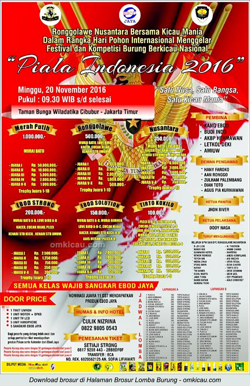 Brosur Lomba Burung Berkicau Piala Indonesia 2016, Jakarta Timur, 20 November 2016