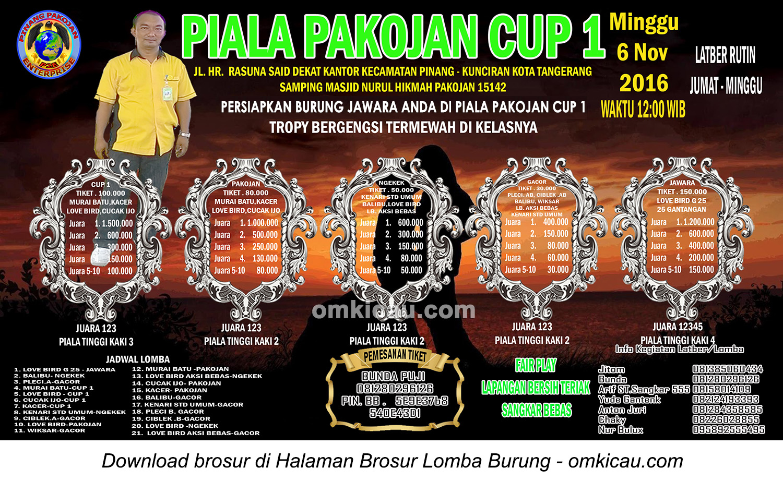 Brosur Lomba Burung Berkicau Piala Pakojan Cup 1, Kota Tangerang, 6 November 2016