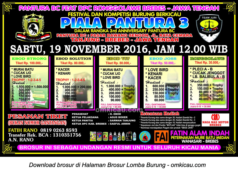 Brosur Lomba Burung Berkicau Piala Pantura 3, Brebes, 19 November 2016