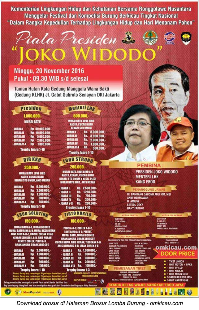 Brosur Lomba Burung Berkicau Piala Presiden Joko Widodo, Jakarta, 20 November 2016