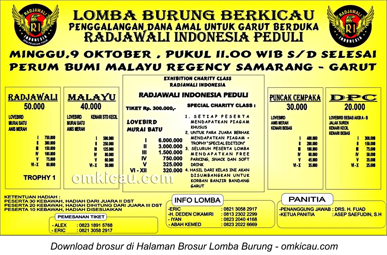 Brosur Lomba Burung Berkicau Radjawali Indonesia Peduli, Garut, 9 Oktober 2016
