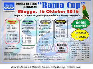 Brosur Lomba Burung Berkicau Rama Cup, Samarinda, 16 Oktober 2016