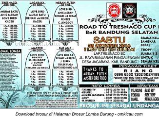 Brosur Lomba Burung Berkicau Road to Tresnaco Cup III, Kab Bandung, 8 Oktober 2016