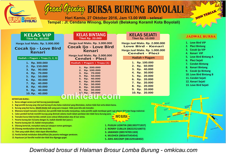 Brosur Revisi Lomba Burung Berkicau Grand Opening Bursa Burung Boyolali, 27 Oktober 2016