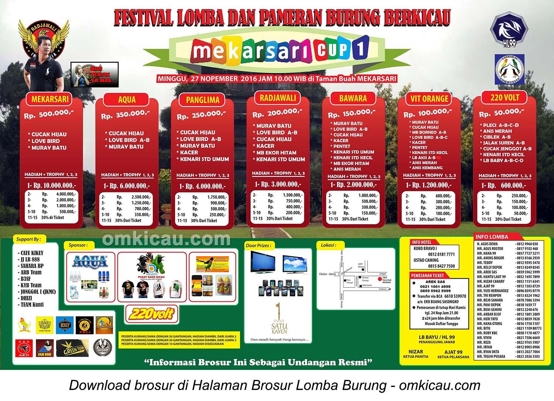 Brosur Revisi Lomba Burung Berkicau Mekarsari Cup 1, Bogor, 27 November 2016
