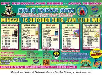 Brosur Revisi Lomba Burung Berkicau Piala Endog Asin, Brebes, 16 Oktober 2016