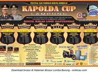Brosur Terbaru Lomba Burung Berkicau Kapolda Cup Lampung, Bandarlampung, 23 Oktober 2016