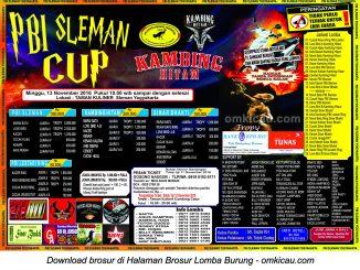 Brosur Terbaru Lomba Burung Berkicau PBI Sleman Cup, Sleman, 13 November 2016