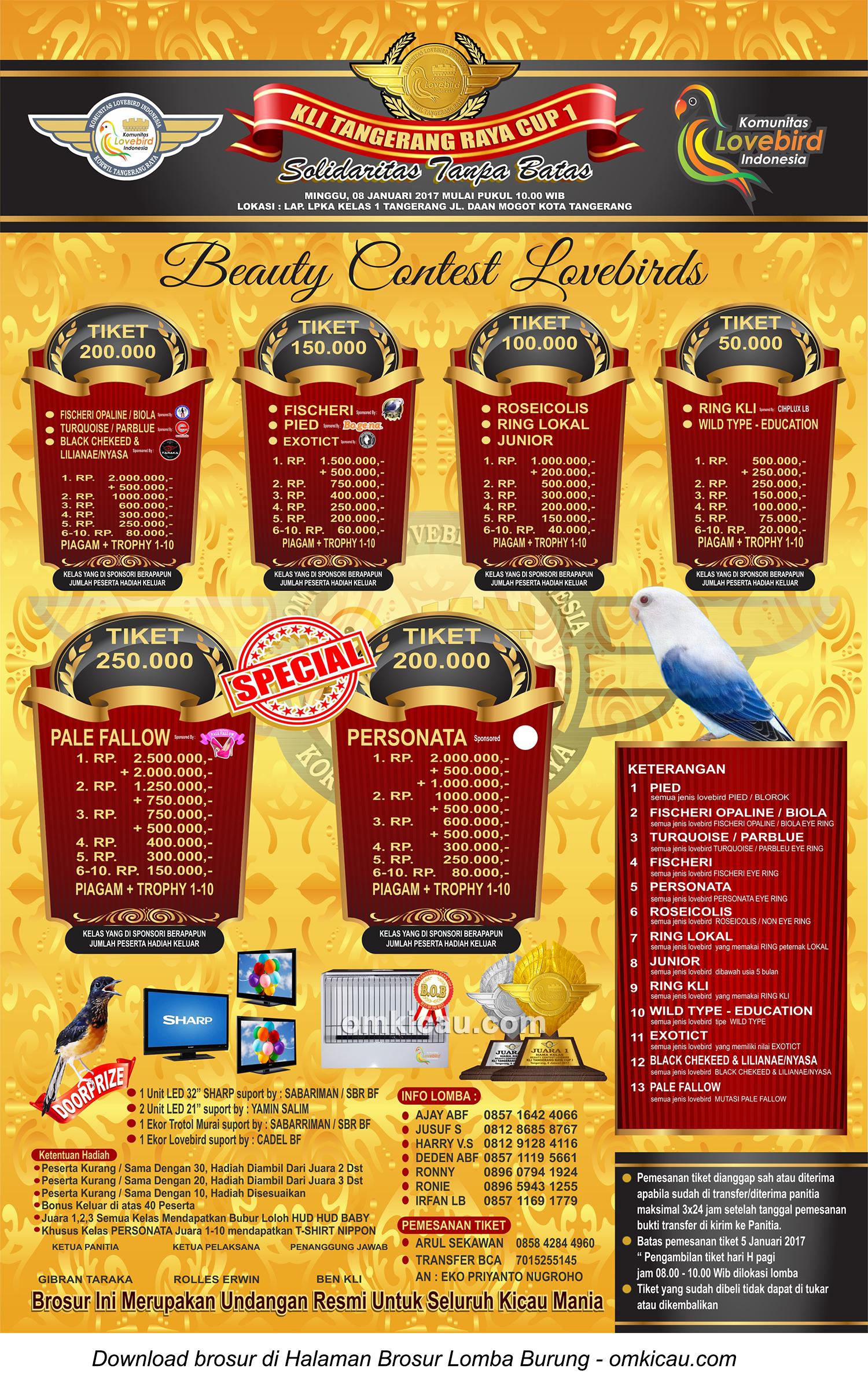 Brosur Beauty Contest Lovebirds KLI Tangerang Raya Cup 1, Kota Tangerang, 8 Januari 2017