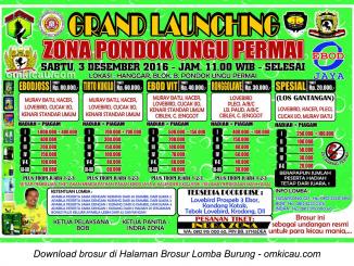 Brosur Lomba Burung Berkicau Grand Launching Zona Pondok Ungu Permai, Bekasi, 3 Desember 2016