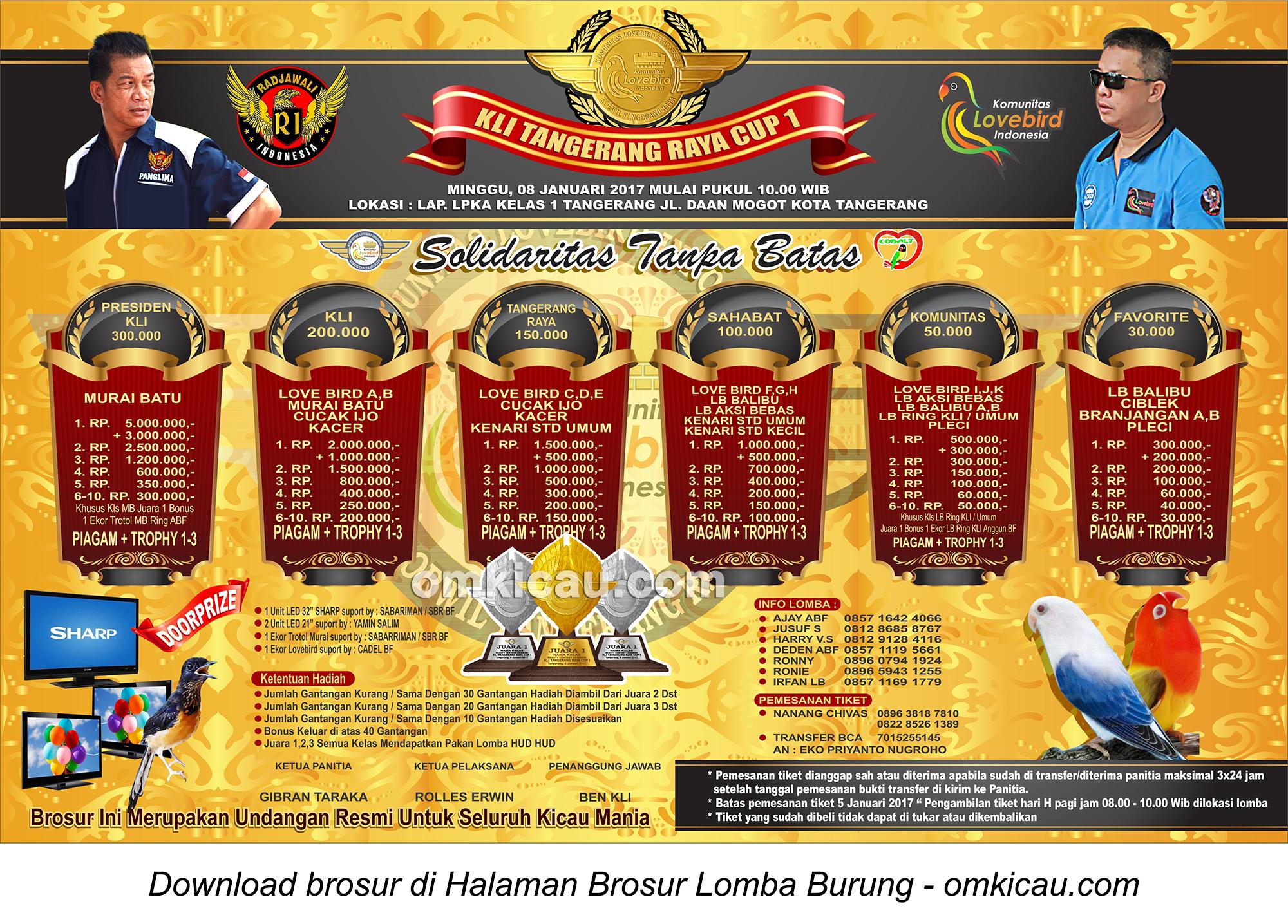 Brosur Lomba Burung Berkicau KLI Tangerang Raya Cup 1, Kota Tangerang, 8 Januari 2017