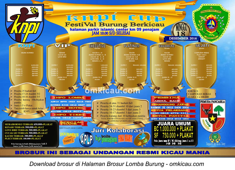 Brosur Lomba Burung Berkicau KNPI Cup, Penajam, 18 Desember 2016