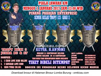 Brosur Lomba Burung Berkicau Piala Jawara KM-Pinang Pakojan, Tangerang, 1 Januari 2017