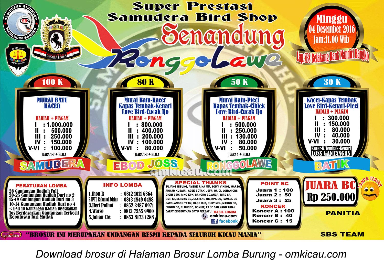 Brosur Super Prestasi Samudera Bird Shop Senandung Ronggolawe, Bangko, 4 Desember 2016