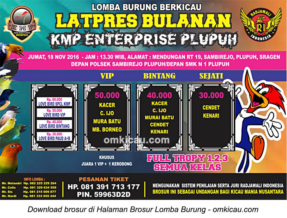 Brosur Latpres Bulanan KMP Enterprise Plupuh, Sragen, 18 November 2016