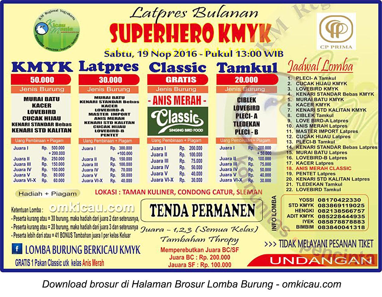 Brosur Latpres Bulanan Superhero KMYK, Jogja, 19 November 2016