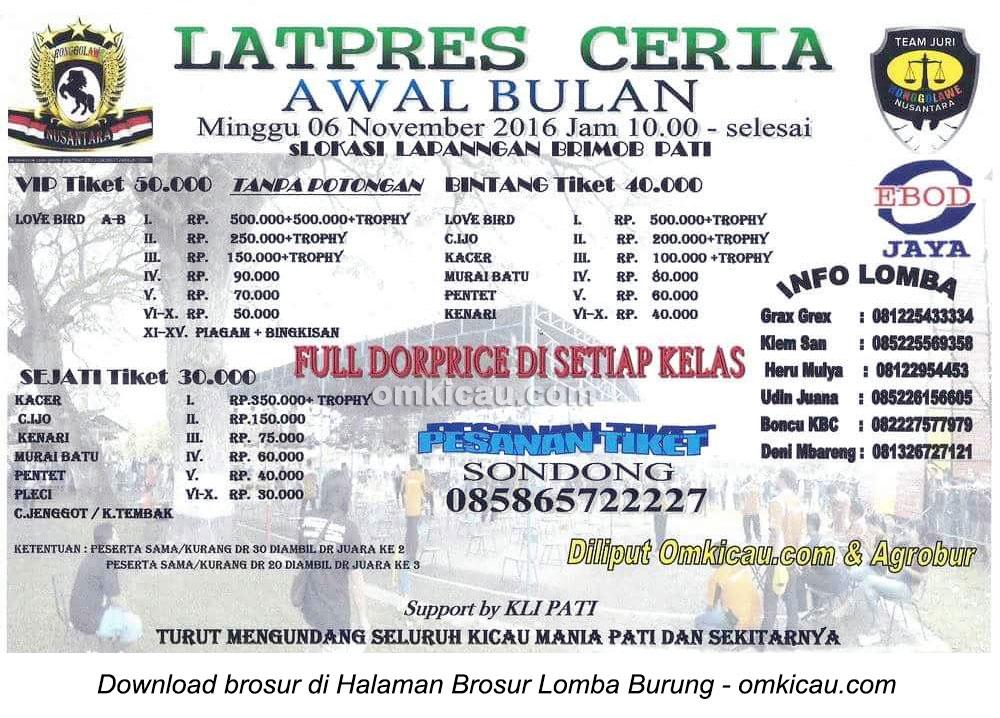 Brosur Latpres Ceria Awal Bulan Brimob Pati, 6 November 2016
