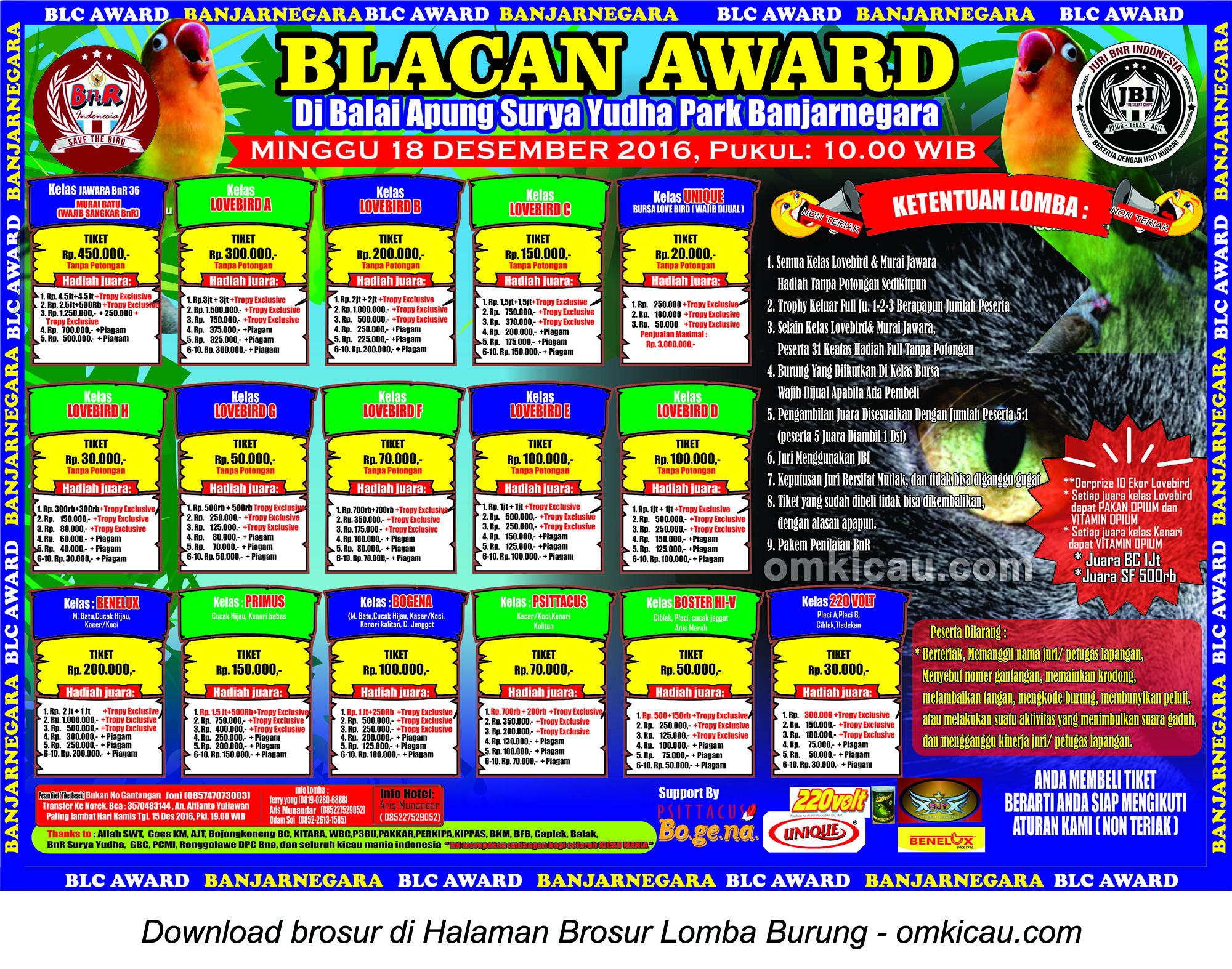 Brosur Lomba Burung Berkicau Blacan Award, Banjarnegara, 18 Desember 2016