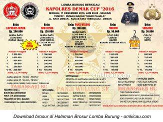Brosur Lomba Burung Berkicau Kapolres Demak Cup, 11 Desember 2016