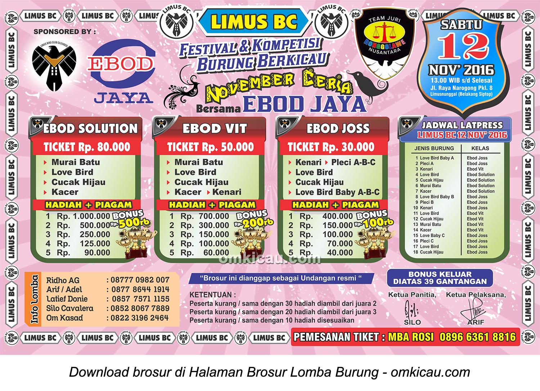 Brosur Lomba Burung Berkicau Limus BC November Ceria bersama Ebod Jaya, Cileungsi, 12 November 2016