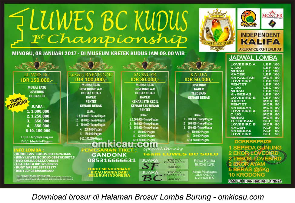 Brosur Lomba Burung Berkicau Luwes BC Kudus 1st Championship, Kudus, 8 Januari 2017