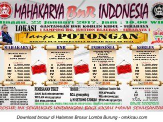 Brosur Lomba Burung Berkicau Mahakarya BnR Indonesia, Surabaya, 22 Januari 2017