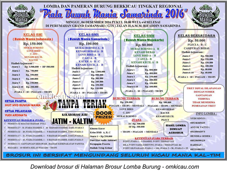 Brosur Lomba Burung Berkicau Piala Buwuh Mania Samarinda, 4 Desember 2016