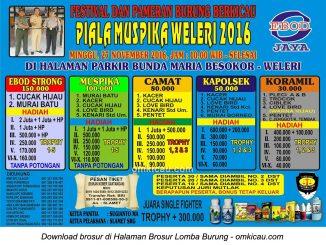 Brosur Revisi Lomba Burung Berkicau Piala Muspika Weleri, Kendal, 27 November 2016