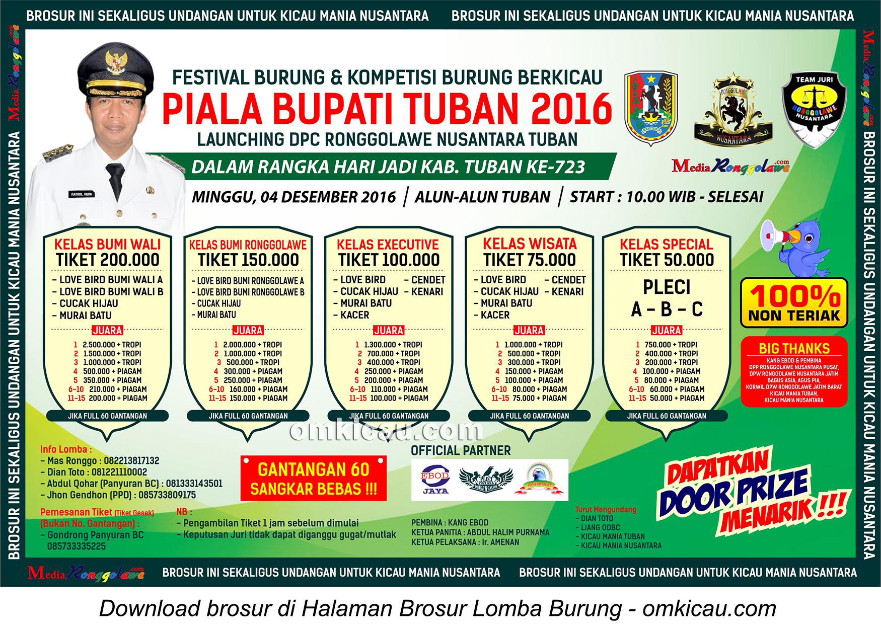 Brosur Terbaru Lomba Burung Berkicau Piala Bupati Tuban, 4 Desember 2016